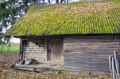 Historical wooden farm barn with moss roof Royalty Free Stock Photos