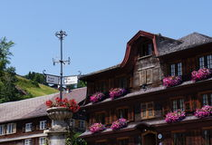 Historical wooden houses in Schwarzenberg, Austria Royalty Free Stock Photography