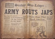 Historical World War Headlines. Actual Newspapers from 1941 with World War Headlines. Frontpages royalty free stock images