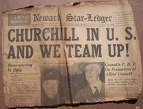 Historical World War Headlines Royalty Free Stock Photos