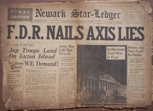 Historical World War Headlines. Actual Newspapers from 1941 with World War Headlines. Frontpages stock images