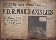 Historical World War Headlines. Actual Newspapers from 1941 with World War Headlines. Frontpages Stock Images