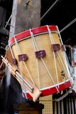 Historically Accurate Revolutionary Snare Drum. Historically accurate revolutionary war rope tension snare drum with drum sticks royalty free stock photos