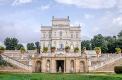 Historically, an important architectural building landmark castle with garden and flowers and shrubs ladshaftnym design in the for Stock Photo