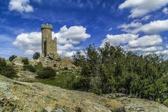 Watchtower of Torrelodones, Madrid, Spain. Historically the municipality was named & x22;Torrelodones& x22; & x28;Lodones& x27; Tower& x29;. That name led to the royalty free stock images