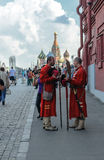 Historically stilized men on the Red Square Royalty Free Stock Photo