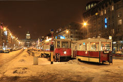 Historically Tramway on snowy Wenceslas Square Royalty Free Stock Photo