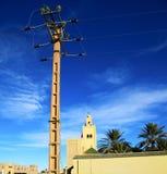 historiesymboen l i Marocko africa minaretreligion och Royaltyfri Fotografi