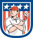 Historieta americana de Holding Monkey Wrench del fontanero stock de ilustración