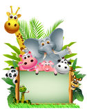 Historieta animal divertida de la fauna con la tarjeta en blanco Imágenes de archivo libres de regalías