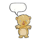 historieta asustada del oso de peluche con la burbuja del discurso Fotografía de archivo