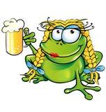 Historieta atractiva de la rana de la muchacha Fotos de archivo libres de regalías