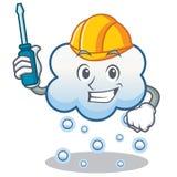 Historieta automotriz del carácter de la nube de la nieve Imagen de archivo