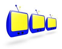 Historieta azul TV con la pantalla amarilla en fila Imagen de archivo