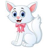 Historieta blanca linda del gato ilustración del vector