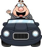 Historieta Boss Driving Waving ilustración del vector