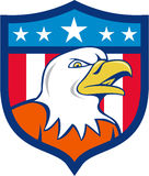 Historieta calva de Eagle Head Angry Flag Crest del americano Fotos de archivo