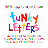 Historieta colorida del sistema de las letras del alfabeto de ABC de la diversión enrrollada de los niños Fotografía de archivo