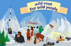 Historieta con la gente primitiva salvaje Stock de ilustración