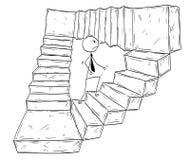 Historieta conceptual de las escaleras de Walking Up Endless del hombre de negocios stock de ilustración