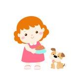 Historieta de alimentación del perro de la niña stock de ilustración