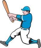 Historieta de balanceo del palo del talud del jugador de béisbol stock de ilustración