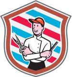 Historieta de Barber Holding Scissors Comb Shield ilustración del vector