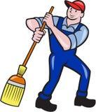 Historieta de Cleaner Sweeping Broom del portero ilustración del vector