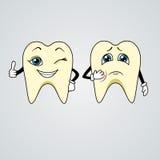 Historieta de dientes tristes y felices Imagen de archivo libre de regalías