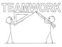 Historieta de dos hombres de negocios que sostienen la regla del lápiz y del triángulo y que escriben el texto del trabajo en equ libre illustration