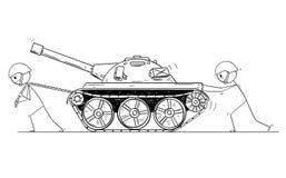 Historieta de dos soldados que empujan y que tiran de un tanque ilustración del vector