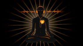 Historieta de HD de la yoga que escucha su corazón ilustración del vector