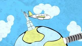 Historieta de HD del aeroplano que vuela en el mundo entero ilustración del vector