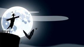 Historieta de HD del espantapájaros sobre la Luna Llena ilustración del vector