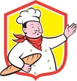 Historieta de Holding Baguette Shield del cocinero del cocinero stock de ilustración