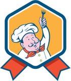 Historieta de Holding Fork Ribbon del cocinero del cocinero libre illustration