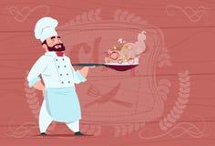 Historieta de Holding Frying Pan With Hot Food Smiling del cocinero del cocinero en el uniforme blanco del restaurante sobre fond stock de ilustración
