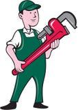 Historieta de Holding Monkey Wrench del fontanero stock de ilustración