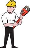 Historieta de Holding Monkey Wrench del fontanero ilustración del vector