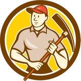 Historieta de Holding Pickaxe Circle del trabajador de construcción stock de ilustración