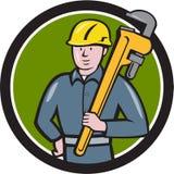 Historieta de Holding Wrench Circle del fontanero libre illustration