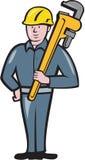 Historieta de Holding Wrench Isolated del fontanero stock de ilustración