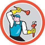 Historieta de Holding Wrench Plunger del fontanero ilustración del vector