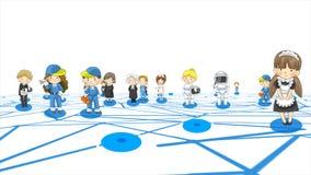 Historieta de la animación de caracteres en diversas profesiones y hombre y mujer del trabajo en medios red social de la comunida ilustración del vector
