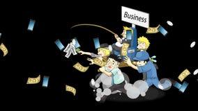 Historieta de la animación de cómo el propietario de negocio o el CEO rico corre negocio con el hombre del sueldo y el empleado d ilustración del vector