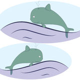 Historieta de la ballena azul en onda Fotografía de archivo libre de regalías