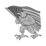 Historieta de la bandera de Eagle Waving los E.E.U.U. del americano stock de ilustración