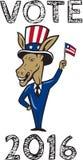 Historieta 2016 de la bandera de la mascota del burro de Demócrata del voto Foto de archivo