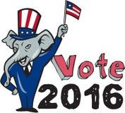 Historieta de la bandera de la mascota del republicano del voto que agita 2016 Imagen de archivo libre de regalías