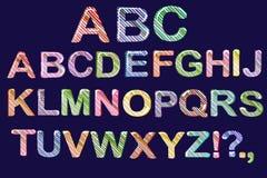 Historieta de la burbuja de fuentes Alfabeto colorido de la jalea 3d para los niños Raya diagonal del modelo Aislado Vector Imagen de archivo